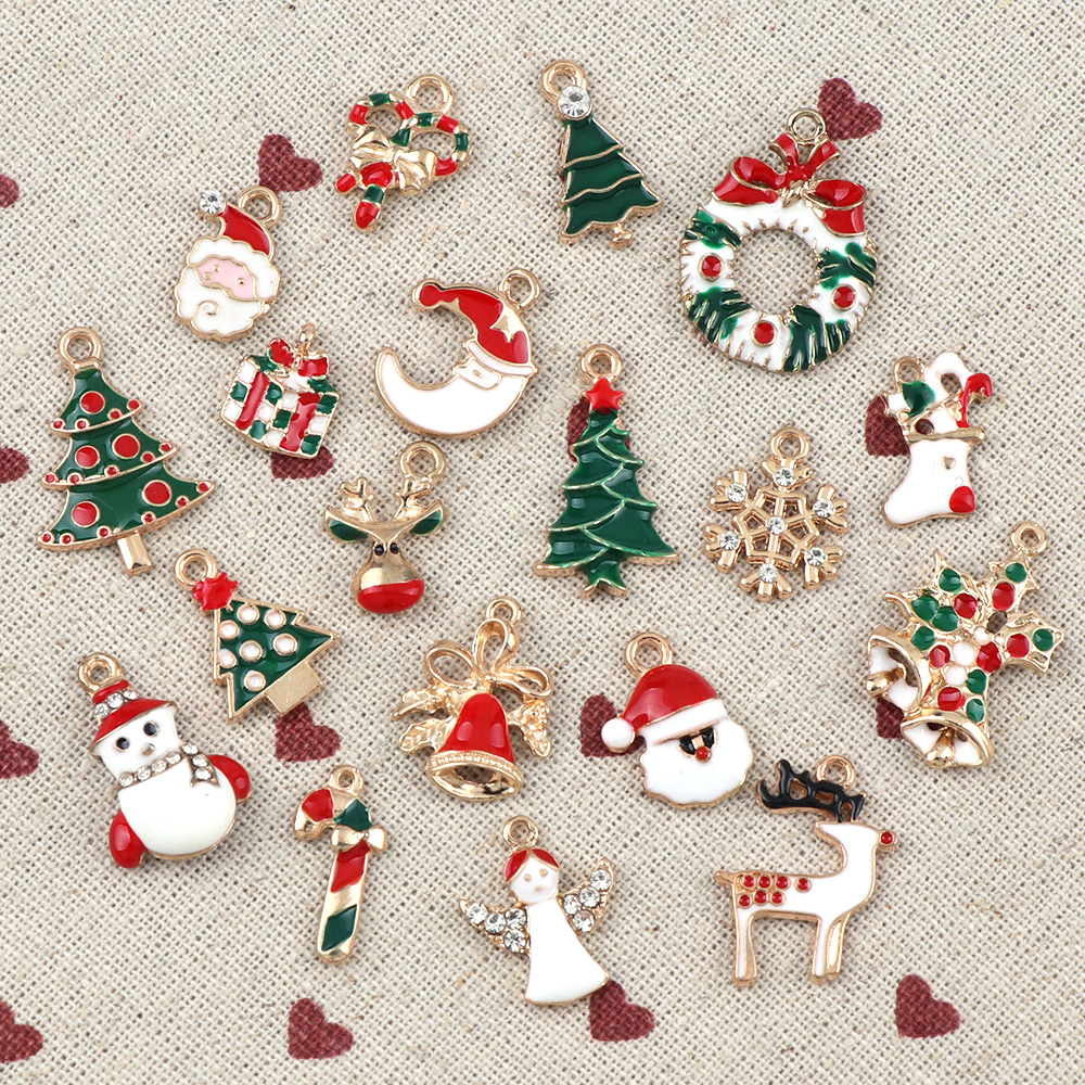 10PC A+ NewYear Fashion Metal Alloy Christmas Charm Decor Set Xmas Pendant Drop Ornaments Hanging Christmas Decoration