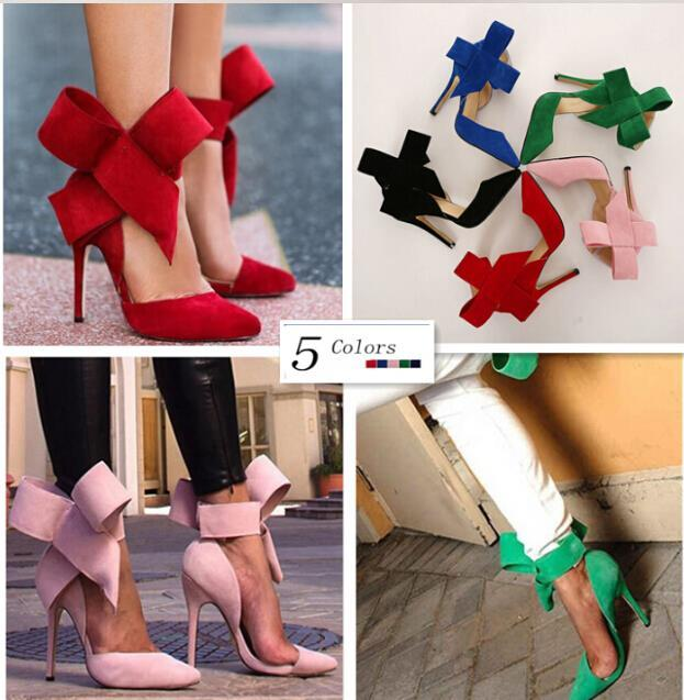 Women Pumps Sexy Butterfly Bow Pointed Toe High Heels Ladies Wedding Shoes Plus Size Shoes Woman Zapatos Mujer 5 Colors