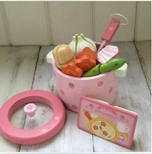 Free Shipping Baby Toys Super Cute Simulation Vegetable Hot Pot Pink Child Pretend Play Toys Wooden