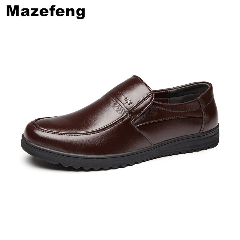 Mazefeng Spring Male Dress Shoes Fashion Men Casual Shoes Genuine Leather Shoes Men Business Breathable Cow Leather Square Toe