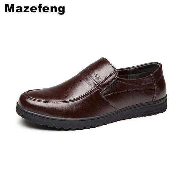 Mazefeng אביב זכר שמלת נעלי אופנה גברים נעליים יומיומיות אמיתי עור נעלי גברים עסקים לנשימה פרה עור בוהן מרובע