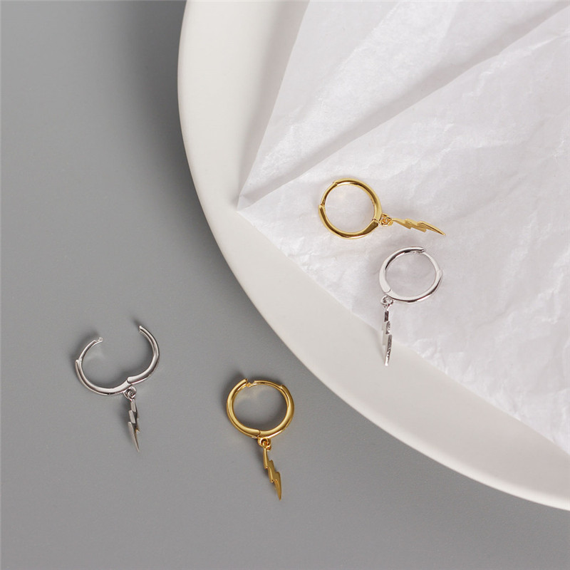 Women's Earrings 925 Sterling Silver Lightning Stud Earrings Fashion Style Girlfriend Glamour Earrings Fashion Elements Jewelry
