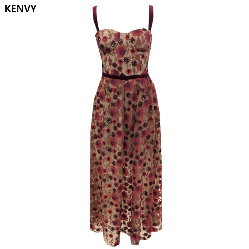 KENVY Brand Fashion Women High End Luxury Summer Embroidered Sling Slim Lace Dress