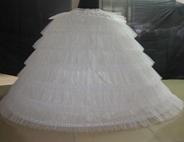 6 Hoops 6 Tieres Tulle White Super Puffy Stora Långa Petticoats Bollkledda Bröllopsklänningar Crinoline Vuxna Kvinnor Underskirt 120cm