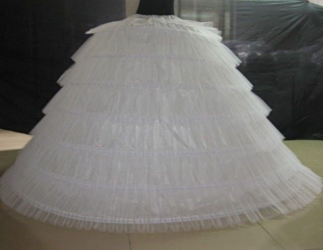 6 Hoops 6 Tieres Tulle White Super Puffy Big Long Petticoats Ball