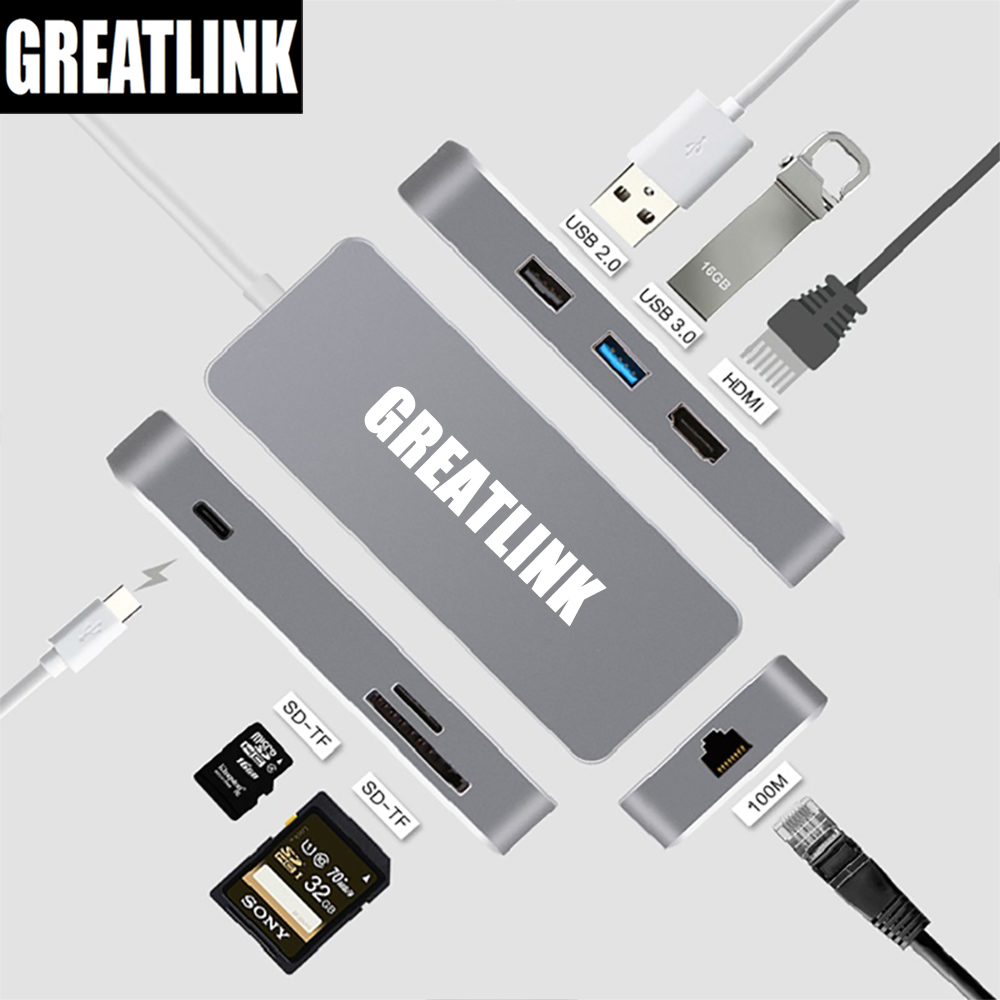 USB Type C 3.1 To HDMI Cable RJ45 Connector SD Card TF Slot PD Adapter USB-C Type-C Ethernet Cable RJ 45 Thunderbolt 3 hub dock