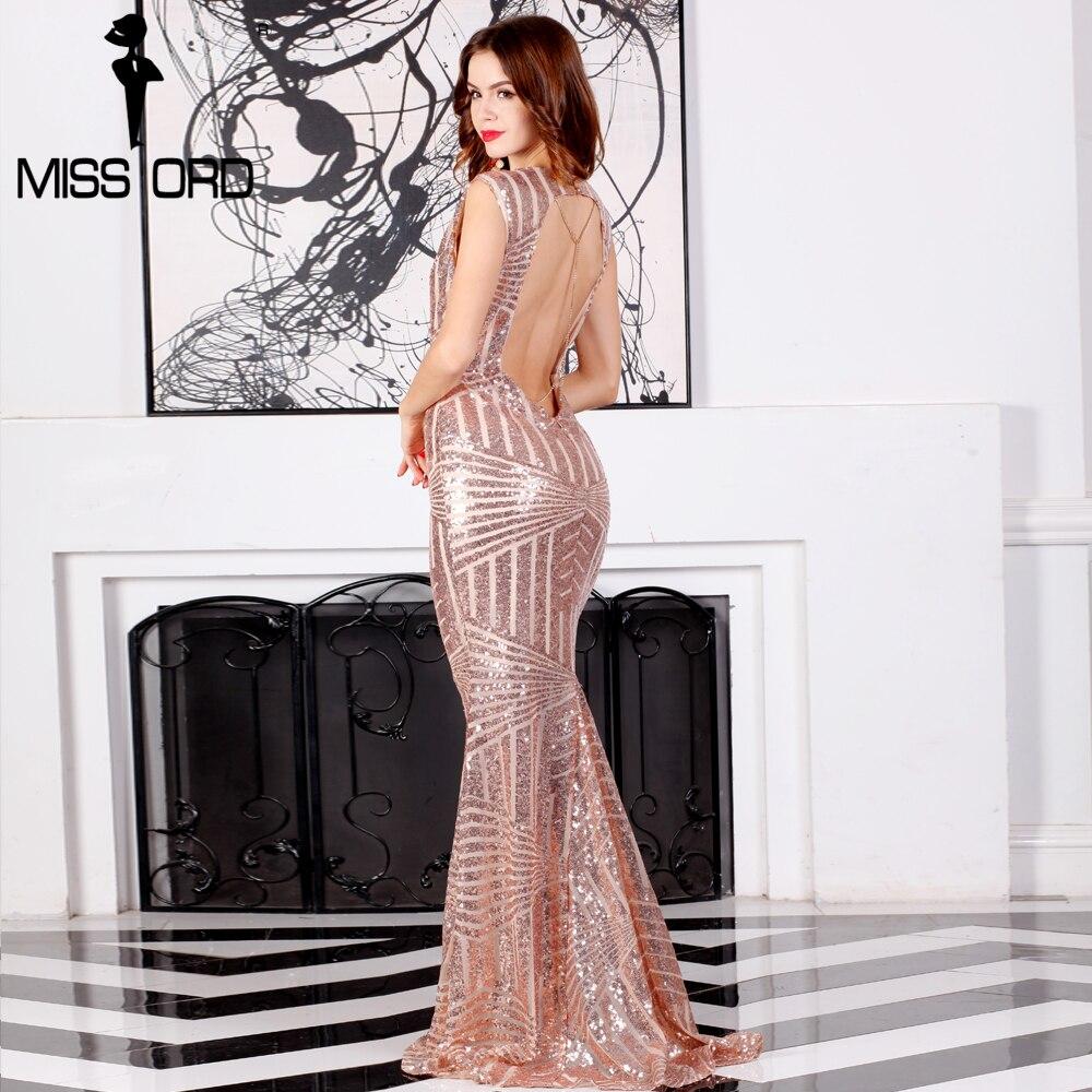 Missord 2017 Сексуальная рукавов спинки Чиан блесток длинное платье FT6860