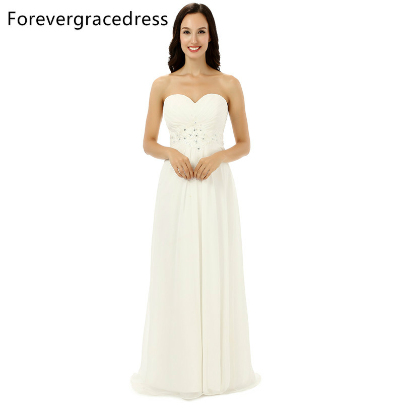 Forevergracedress Real Pics Simple Backless   Bridesmaid     Dress   New Chiffon Long With Lace Up Back Wedding Party Gown Plus Size