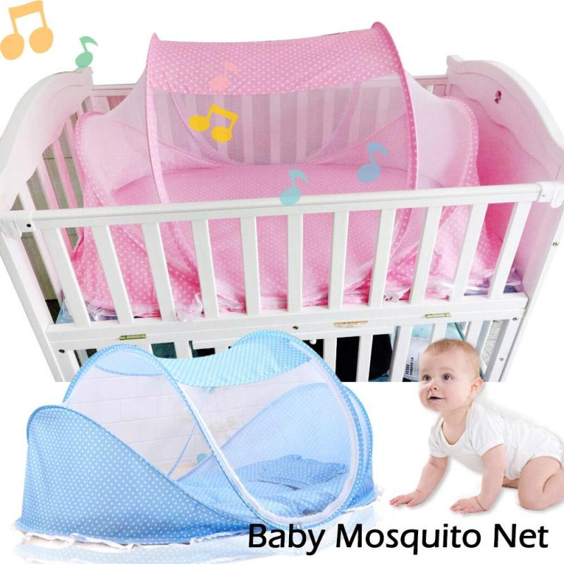 1PC Summer Infant Baby Mosquito Net Crib Netting Baby Bed Mosquito Insect Cradle Net Foldable Newborn Baby Bedding Protection D5 baby stroller pushchair mosquito insect shield net safe infants protection mesh stroller accessories mosquito net trq0085