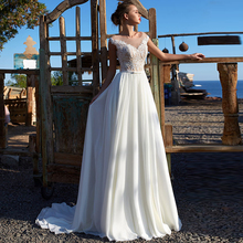 Verngo Chiffon Beach Wedding Dress Applique Bride Summer Holiday Boho Long Robe Mariage