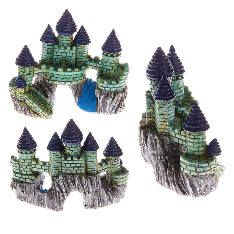aquatic pet supplies antique blue castle polyresin fish tank aquarium fish tank rockery accessories bonsai ornament decor in hair clips pins from beauty - Blue Castle Decor