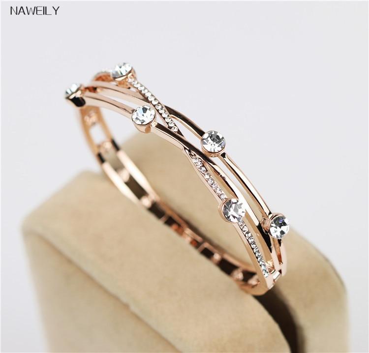 NAWEILY Exquisite Crystal Cuff Bracelet Women Fashion Brand Hollow Rhinestone Bangles Pulseira Feminina Jewelry NWLSX967 graceful faux crystal cuff bracelet