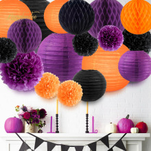 Nicrolandee 18 pcs/set Happy Halloween Orange Purple Black Tissue Paper Flowers Poms Ball Decor DIY Festival Decoration Party