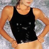 Sexy Black Rubber Latex Exotic Tank Top Vest Sleeveless Rubber Tops Waistcoat