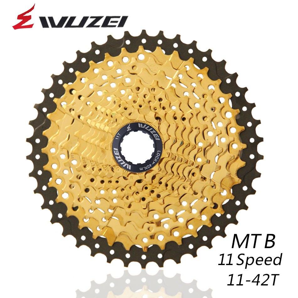 WUZEI 11Speed Freewheel MTB Mountain Bike Parts Cassette Freewheel Golden 11 42T for Parts XT M8000