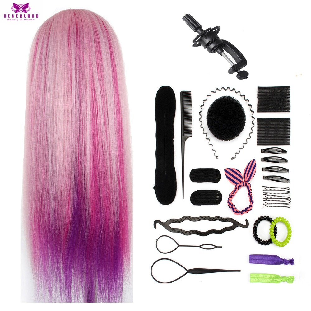 Colorful Pink Hair Cosmetology Training Head For Hairstyles Braiding Professional Hairdressing Dummy Doll Head Christmas Gifts