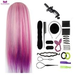 Colorido cabello Rosa cabeza de formación en cosmética para peinados trenza de peluquería profesional cabeza de muñeca ficticia regalos de navidad