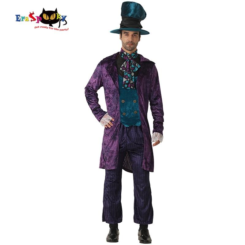 Eraspooky Alice In Wonderland Costume Mad Hatter Cosplay Men Halloween Costume for Adluts Carnival Party Christmas Fancy Dress