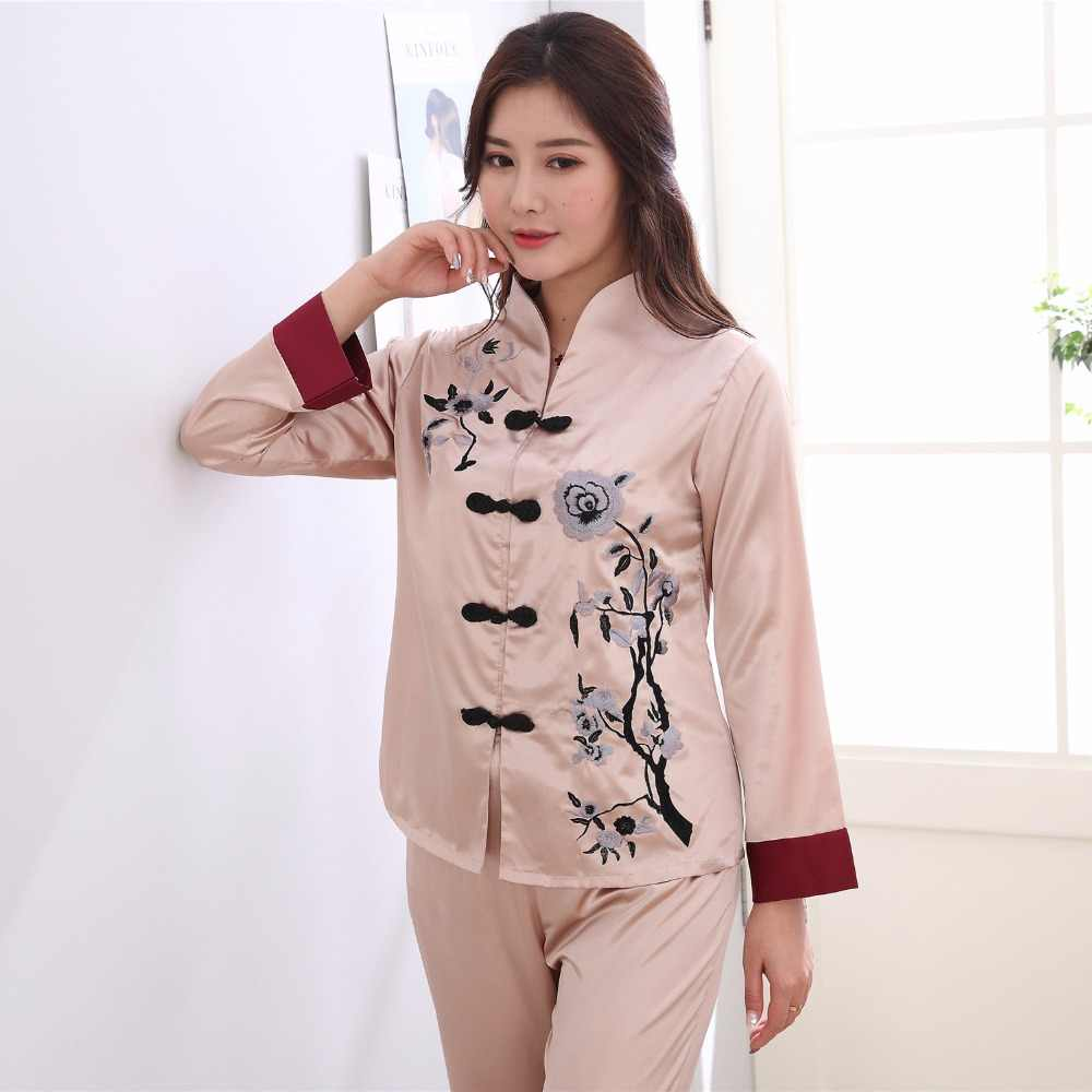 e5889d237eed2 Plus Size XXXL Lady Sexy Rayon Pyjamas Suit 2 pcs Shirt &Pant Sleepwear  Novelty Embroidery Chinese