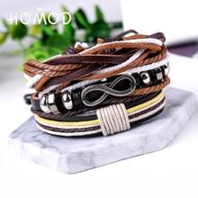 HOMOD 3pcs/set Men Vintage Multilayer Infinity Bracelets Jewelry Fashion Circle Charms Black Brown Leather Ropes Bracel