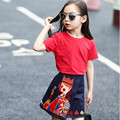 New 2017 Summer girls short sleeved summer poker embroidered shirt and short pants 2pcs suit  child ethnic clothes red