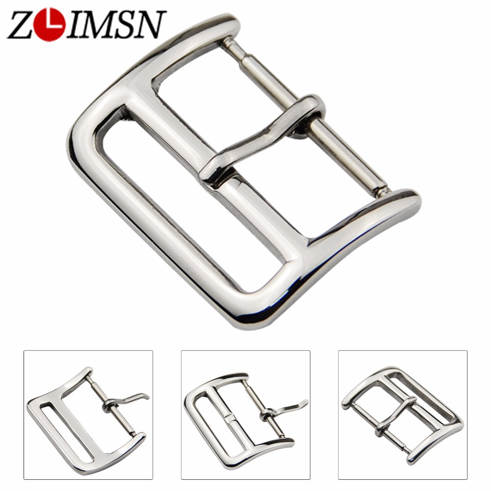 ZLIMSN Stainless Steel Watchband Buckle Silver Polished Watch Clasp Pin Belt Buckles16mm 18mm 20mm 22mm