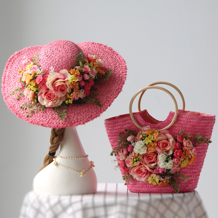 bags woman lady sweety style straw bag for trip travel on beach original design pink hat