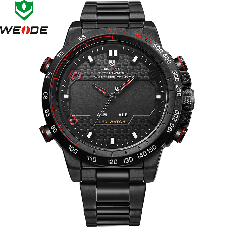 2018 Top Luxury Brand WEIDE To Men Full Steel Watches Men's Quartz Analog LED Clock Man Fashion Sports Army Military Wrist Watch 2016 new weide luxury brand quartz watches men dual time oversize clock men sports military leather strap fashion wrist watch