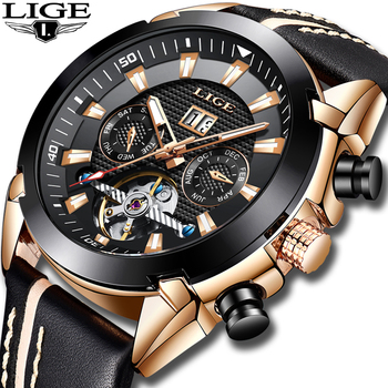 New Sport Mechanical Watches LIGE Mens Business Leather Automatic Mechanical Watch Men Military Waterproof Clock Montre Homme