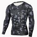 Novo 2016 Camada de Base Camiseta Camuflagem Calças De Fitness Secagem rápida Camisas Camo T Compressão Camisa Topos & T Crossfit