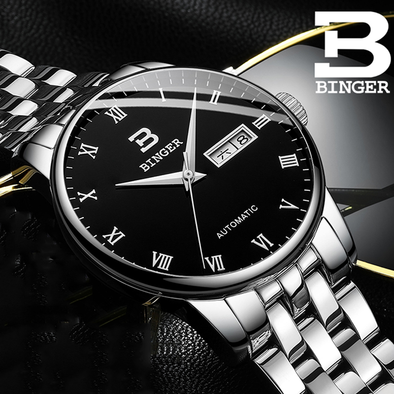 BINGER Automatic Mechanical Watches Men Top Brand Luxury Business Waterproof Stainless Steel Male Clock Relogio MasculinoBINGER Automatic Mechanical Watches Men Top Brand Luxury Business Waterproof Stainless Steel Male Clock Relogio Masculino