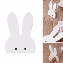 Cute Bunny Rabbit Wooden Hook Clothes Hooks On Wall Decorate Kids Children Room ECO Friendly Wall Hanger Hooks White(China)