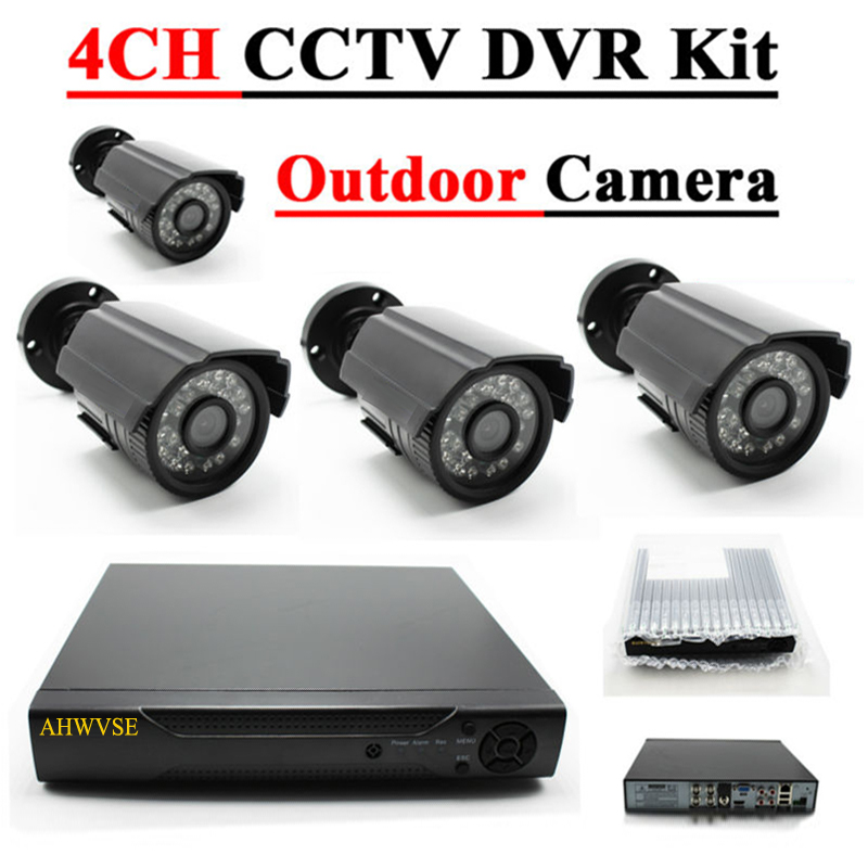 4CH 1080N HDMI DVR 1200TVL 1080P HD Outdoor Security Camera System 4 Channel CCTV Surveillance DVR Kit AHD Camera Set XMEYE APP