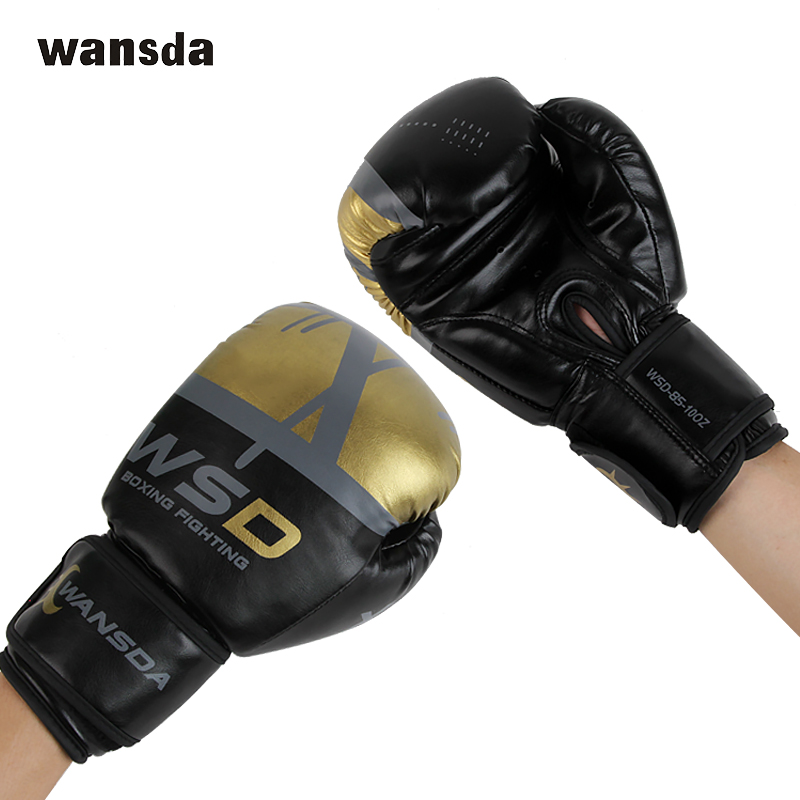 Adults MMA Gloves Boxing PU Leather Padding Knuckle Wrist Protection Glove