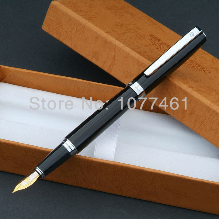famous fountain pen HERO  Black and Silver Clip medium nib iridium With original Gift Box H1013 hero 285 smooth black and gold clip calligraphy pen 0 8mm curved tip metal fountain pen with original gift case office supplies