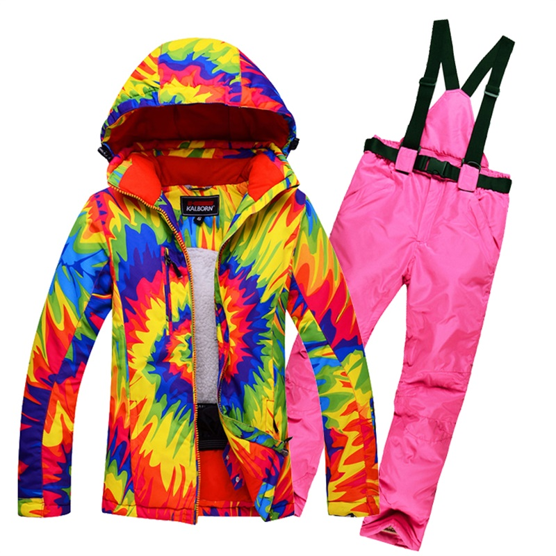Ski Suit Women Winter Skiing Jacket + Pants Thermal Thicken Snow Snowboard Sets Sportswear Waterproof Breathable Snowboarding