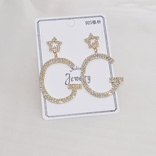S925 silver needles, letter G earrings, star earrings, women's, fashion jewelry accessories wholesale,JX471 джинсы g star g star gs001ewfzly1