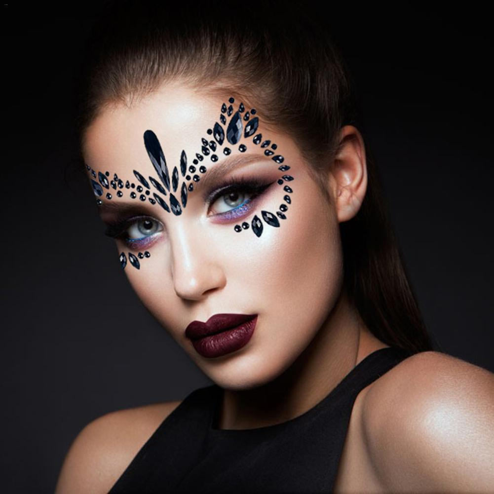 Masquerade Face Decoration DIY Jewelry Acrylic Rhinestone Festival Party Temporary Tattoo Fashion Face Stickers for Women