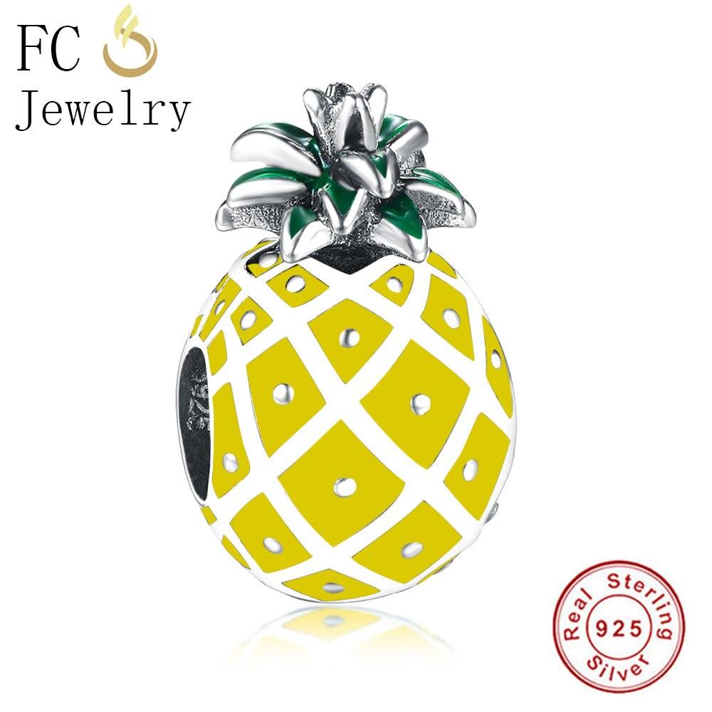 FC Schmuck Fit Ursprüngliche Pandora Charms Armbänder Authentische 925 Silber Obst Ananas Green Leaf Perlen Machen DIY Berloque 2018