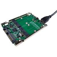 Free shipping 2.5 SATA III to dual mini SATA USB 3.0 to 2 mSATA SSD Raid controller card Converter with cable