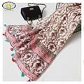 1 UNID 180*95 CM 2016 Otoño Nuevo Diseño de Moda Flor de Algodón Mujeres Largas Borlas Bufanda Mujer Nuevo Algodón y lino Pashminas Chal