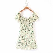 COZARII 2019 summer dress women vestidos casual style print square collar short puff sleeve mini de fiesta party