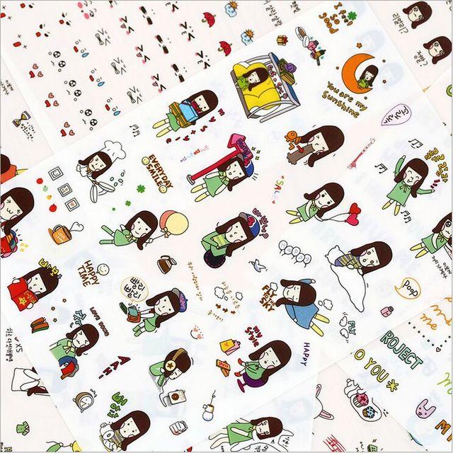 6pcs pack vanilla girl days life diary stickers pet transparent pvc decorative mobile phone sticker