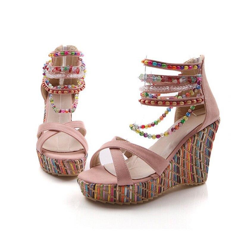 Sandales à Talons Compensés Chaussures Bohême... Kqhmq3To