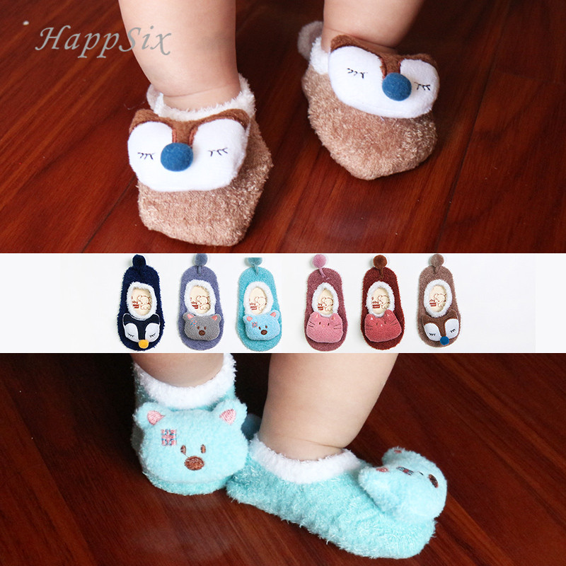 4a34e85aa769a Coral fleece Baby Socks Soft Animal Pattern Boys Girls Floor Baby Socks  Toddler Non Slip Socks Autumn Winter Free Shipping Tags