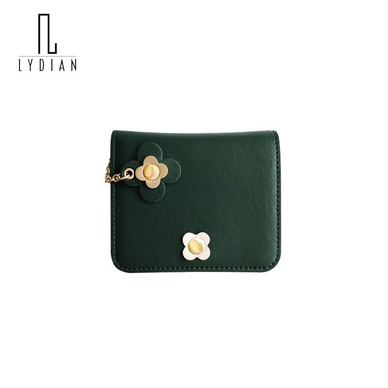 Lydian Cowhide Purse Chain Flowers Short Small Wallet Women 2017 New Korean Fresh Student Thin Fold Buckle Hasp Wallet Money Bag