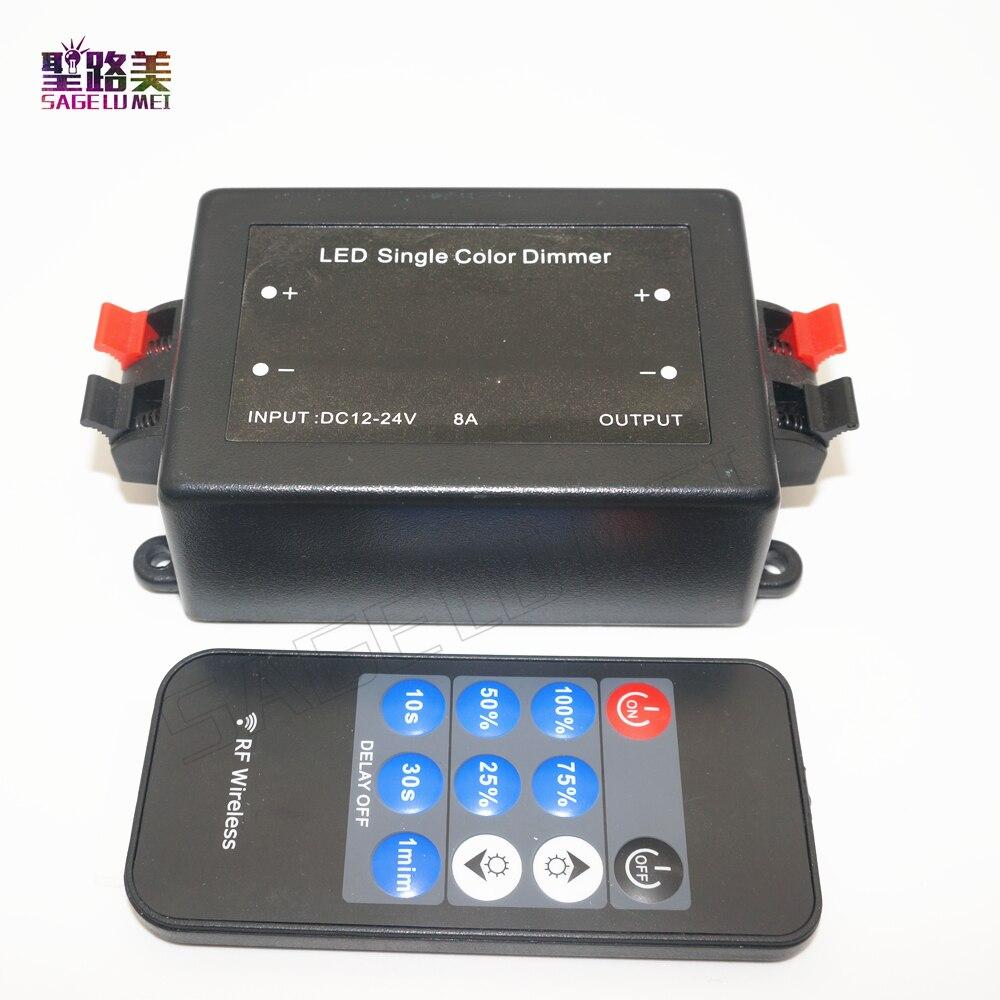 DC12V-24V Mini 11key control remoto inalámbrico RF brillo Dimmer interruptor regulador controlador para 5050 de 3528 de 2835 cinta de LED de único color luz 30A LED atenuador de color único DC12V-24V 11Key de RF para Dimmer de RF de atenuación, controlador de Control para 5050 de 3528 cinta de LED de único color 1pc