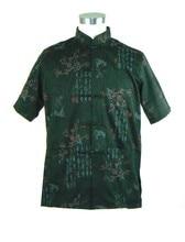 Classic Fhiaon Black Men's Cotton Kung Fu Shirt Top Vintage Tang Suit Printed Short-Sleeve Costume S M L XL XXL XXXL LD20