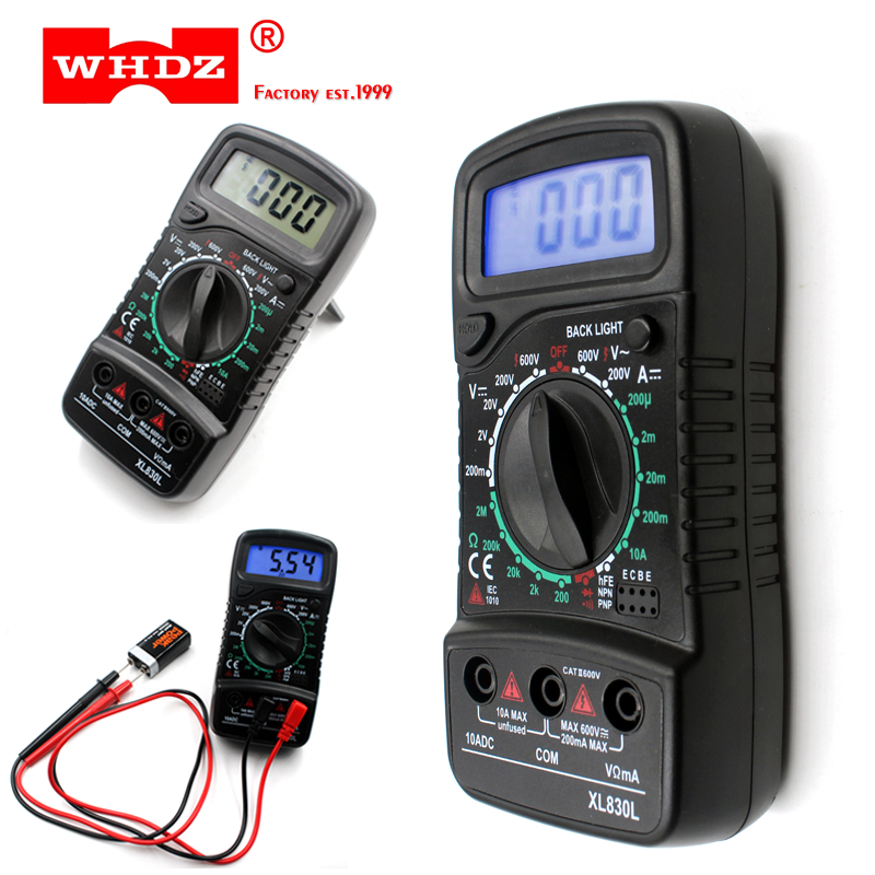 XL830L Digital Multimeter Portable Voltmeter AC/DC Voltage Meter DC Ammeter Resistance Tester Blue Backlight