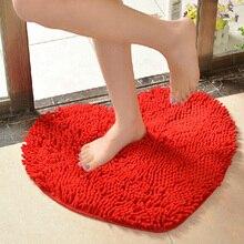 50*60 cm lindo amor en forma de corazón antideslizante chenille microfibra suave esponjosa piso dormitorio baño alfombra carpet mat (rojo)